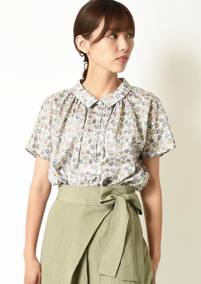 ◆リバティちび衿ギャザーシャツ【H2122517】【27】