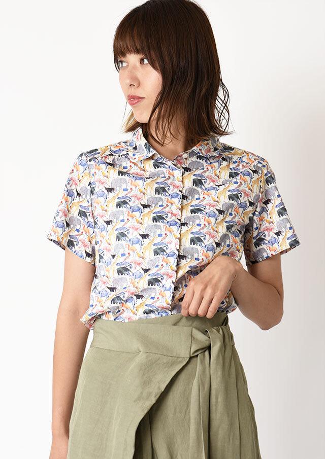 ◆リバティ丸衿ヨークギャザーシャツ【H2122526】【27】