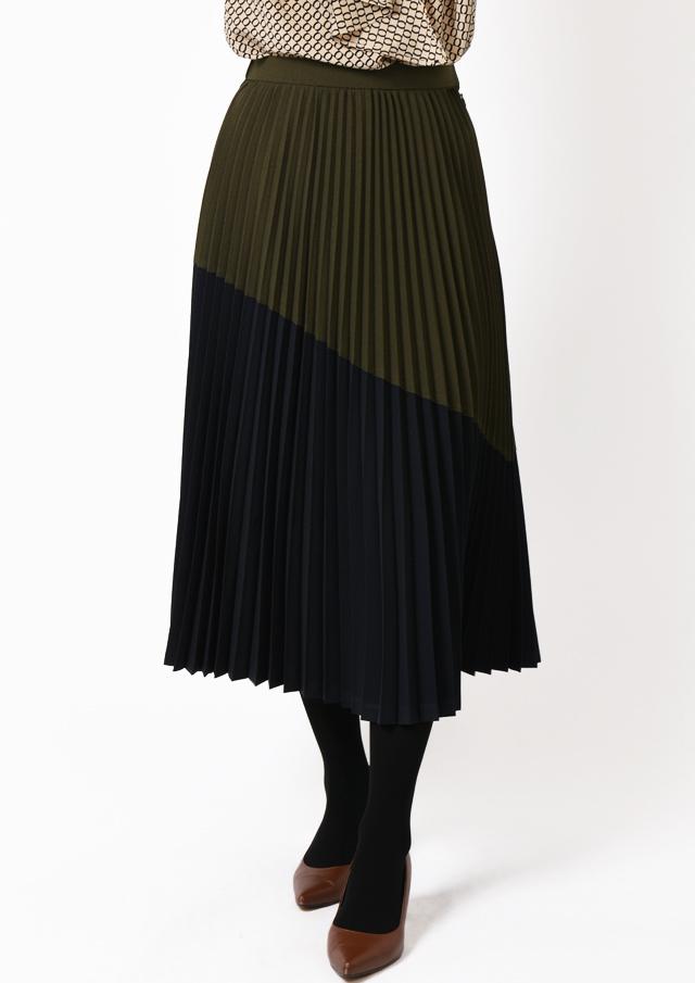 【2019】配色アコーディオンプリーツスカート【H6208】【26】