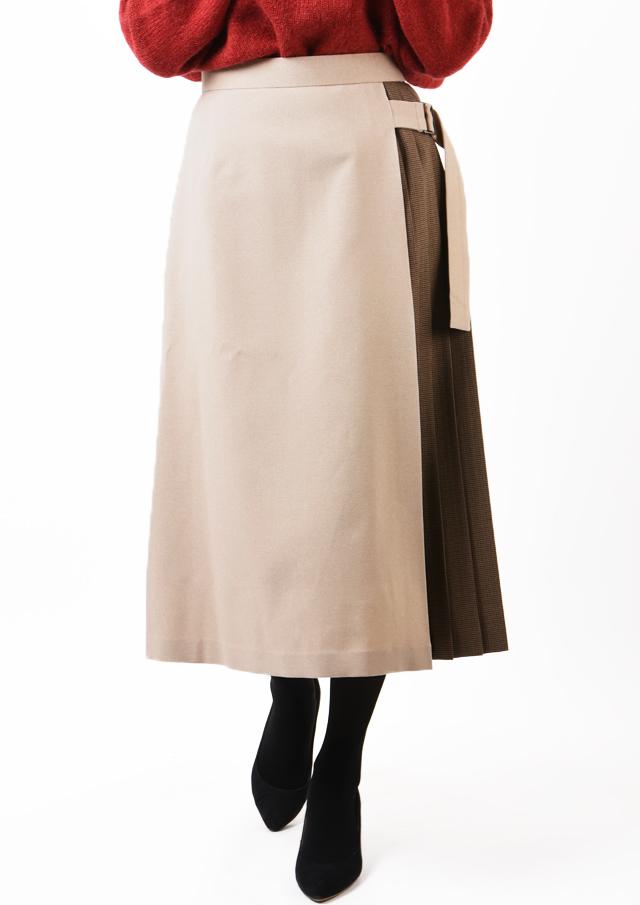 【2019】サイドプリーツチェックベルト使いスカート【H6214】【26】