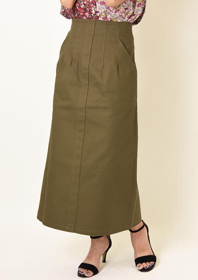 ◇◆カラーステッチAラインロングスカート【H6521】【26】