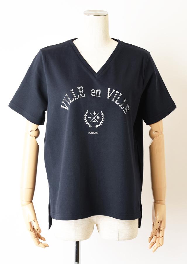 【2020】パール付きカレッジプリントTシャツ【H7021003】【27】