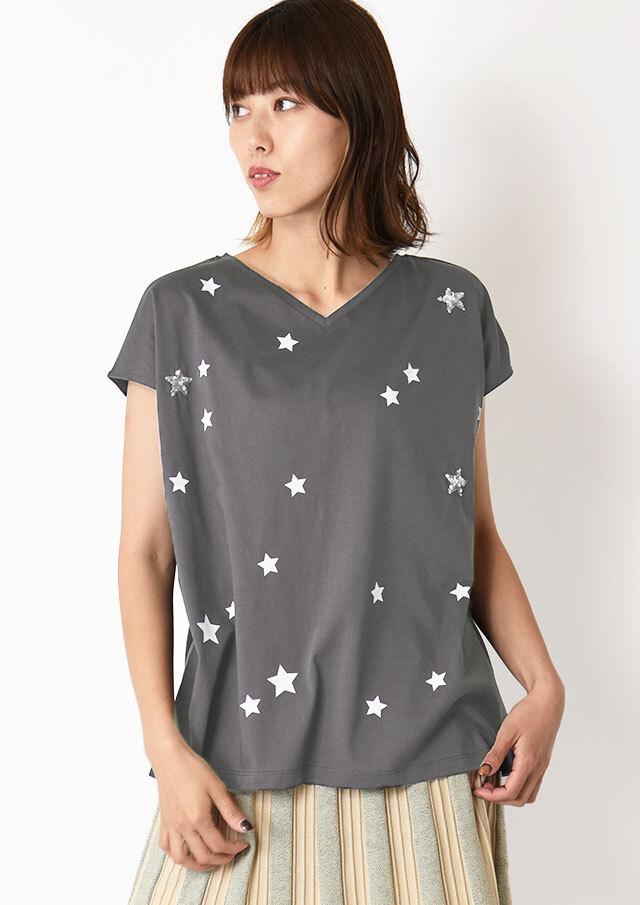 ◆スタープリントVネックTシャツ【H7121008】【27】