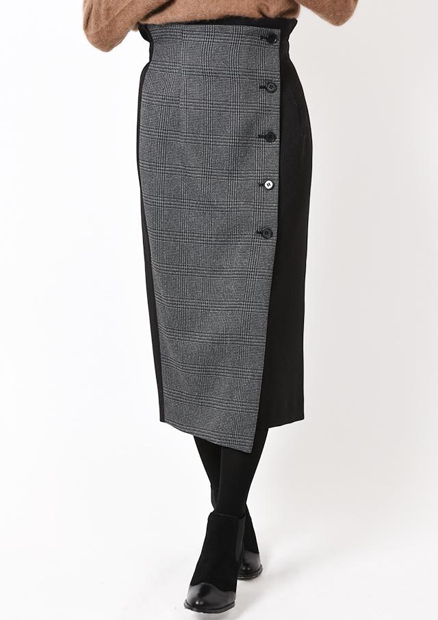 【2019】グレンチェック配色ラップスカート【H77717】【80】