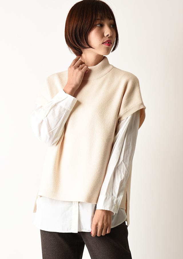 【2020】ハイネックニットベスト&ブロードシャツセット【H810308】【26】