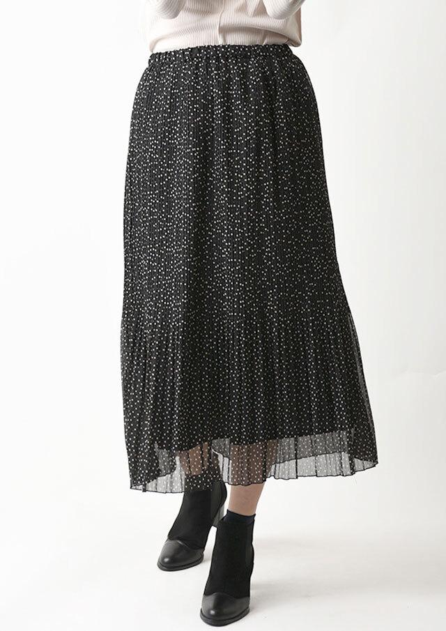 ◆ドット楊柳シフォンプリーツスカート【H893061】【26】