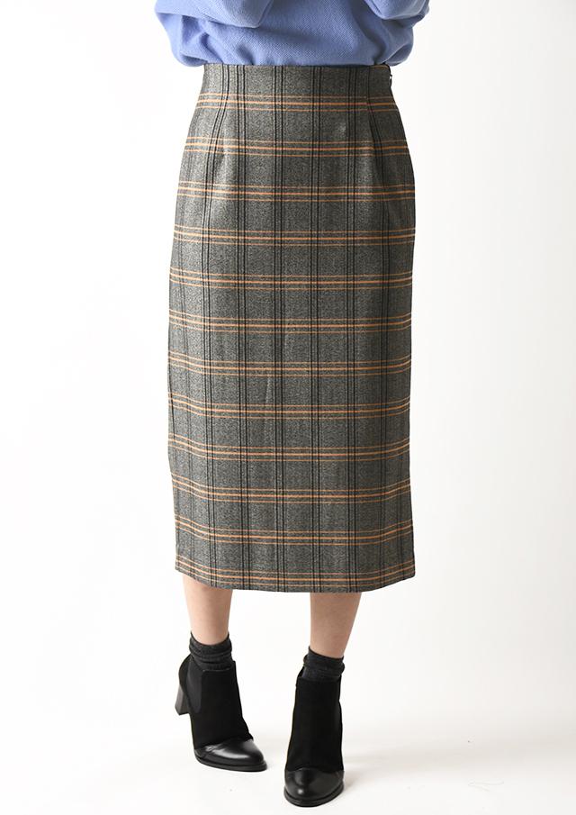 ◇◆ヘリンボーンチェックタイトロングスカート【H896167】【26】