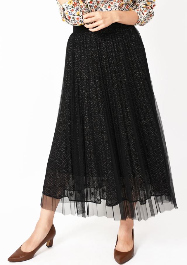 【2019】レイヤードチュールプリーツスカート【H8993510】【26】