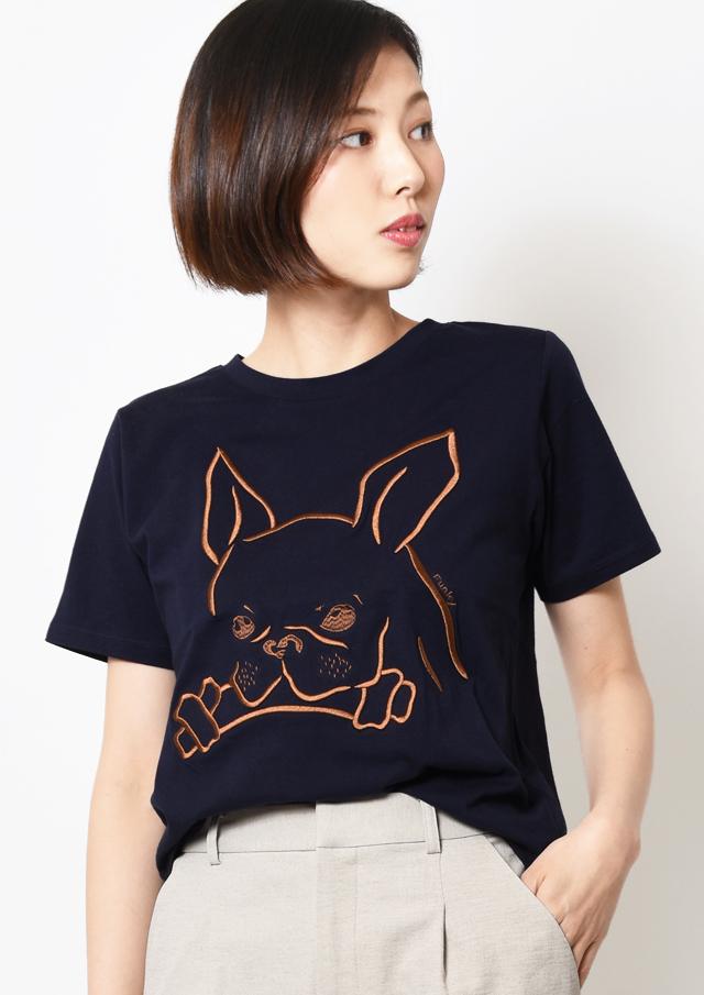 【2019】フレンチブルドッグ刺繍Tシャツ【H9069404】【26】