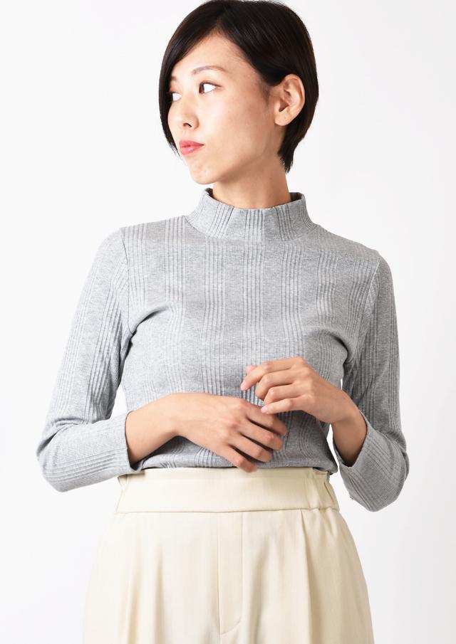 【2019】ランダムテレコハイネックプルオーバーカットソー【H9M016002】【80】