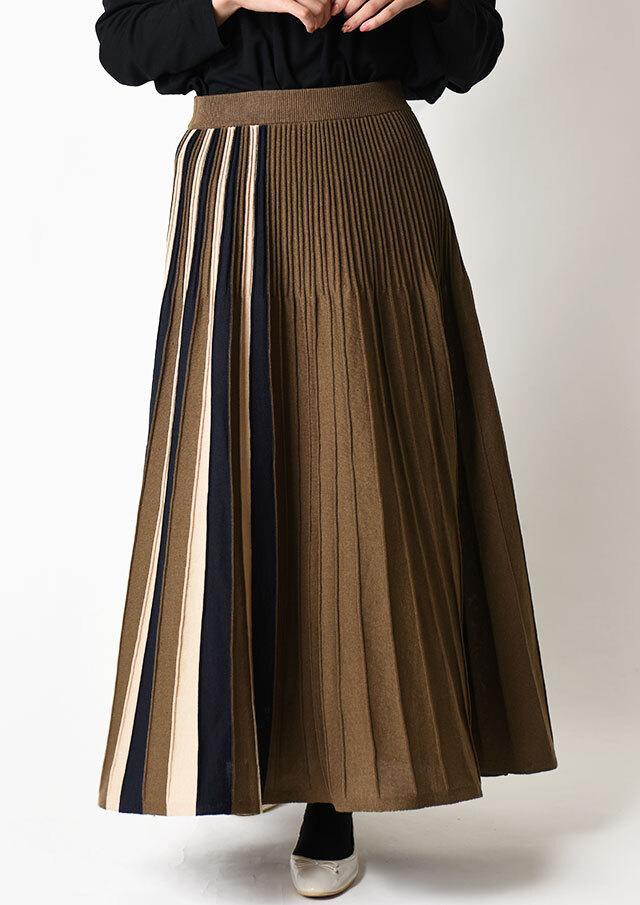 ◆コンフォートヤーン配色使いニットスカート【HA121007M】【61】