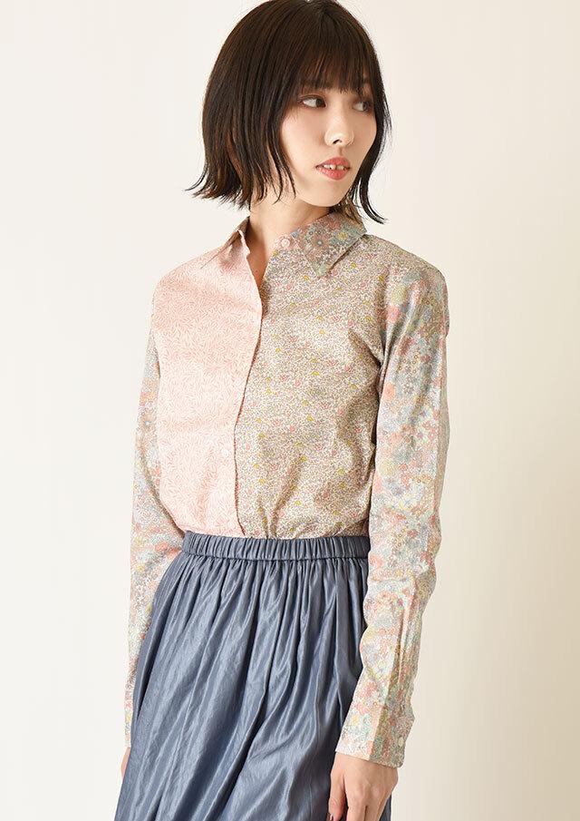 ◆リバティパッチワークレギュラーシャツ【HB051000】【26】