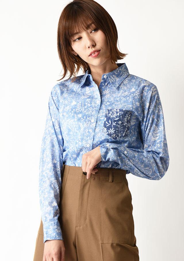 ◆リバティ配色使いレギュラーシャツ【HB051002】【26】