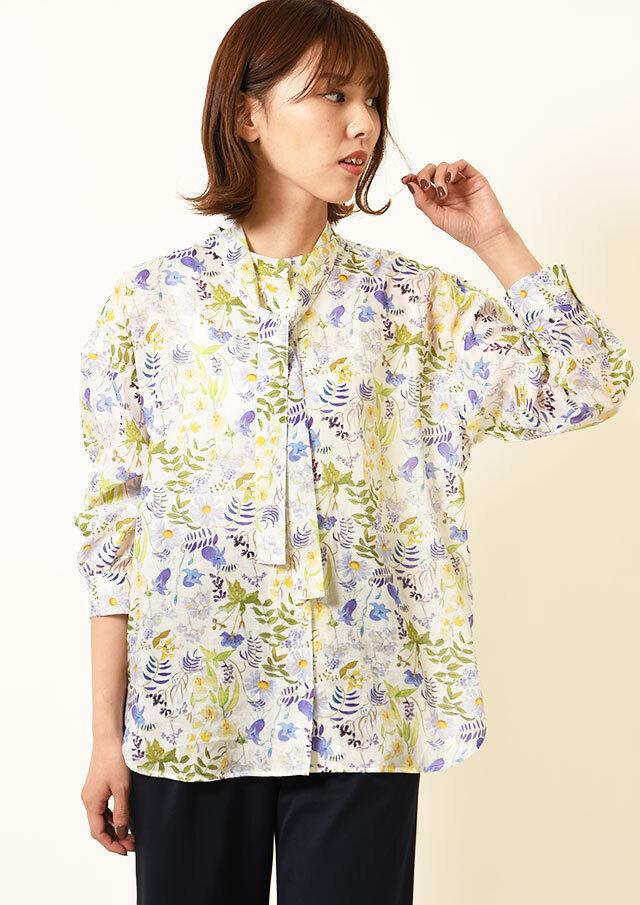 ◆リバティリヨセルローンボウタイ付きシャツ【HB051004】【26】