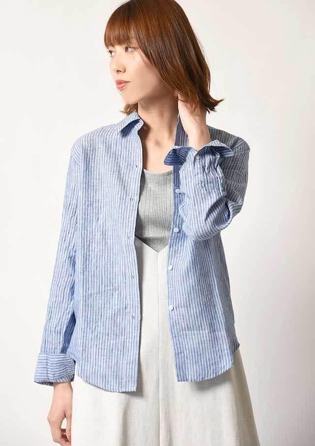 ◆フレンチリネンストライプ配色使いシャツ【HB051010】【26】