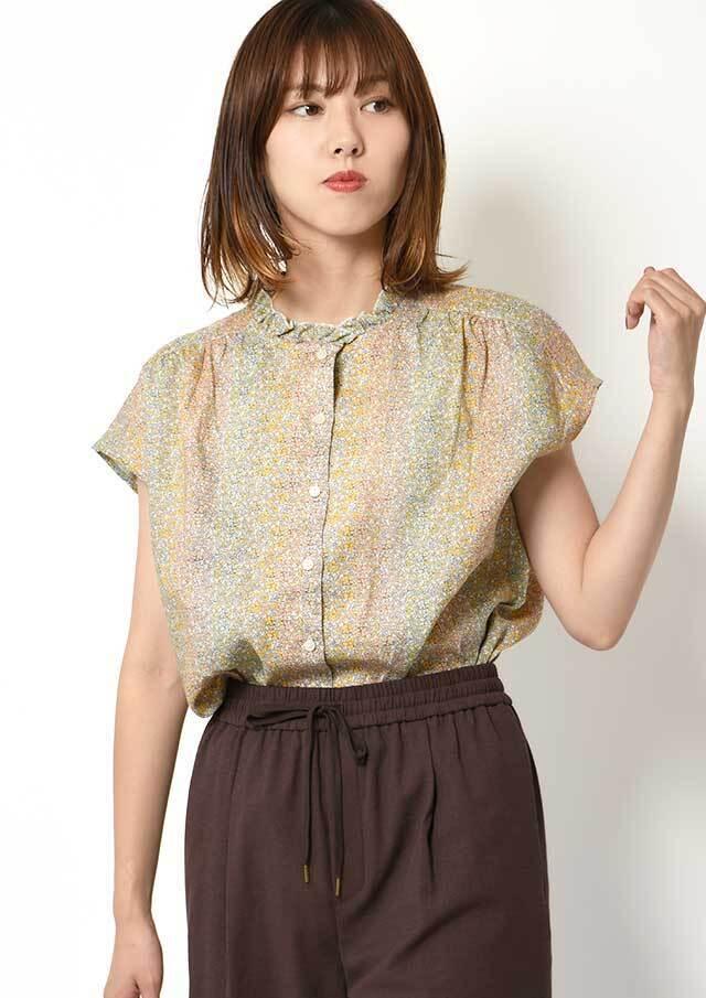 ◆リバティフランダースリネンフリルネックフレンチスリーブシャツ【HB051012】【26】