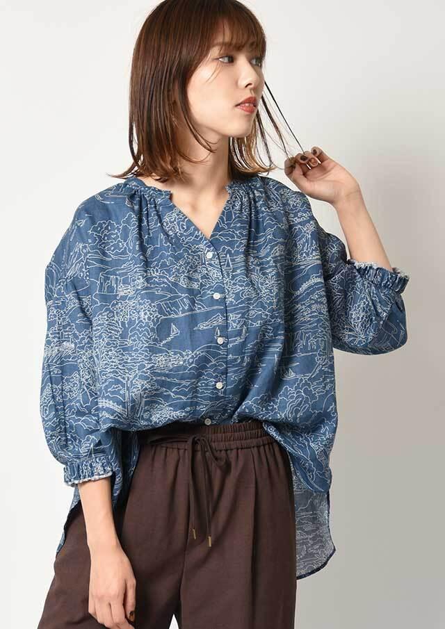 ◇◆リバティフランダースリネンギャザースリーブシャツ【HB051014】【26】