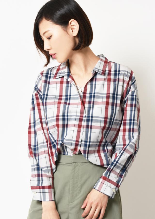 ◇◆マドラスチェックシャツ襟スキッパープルオーバーブラウス【HB059004】【26】