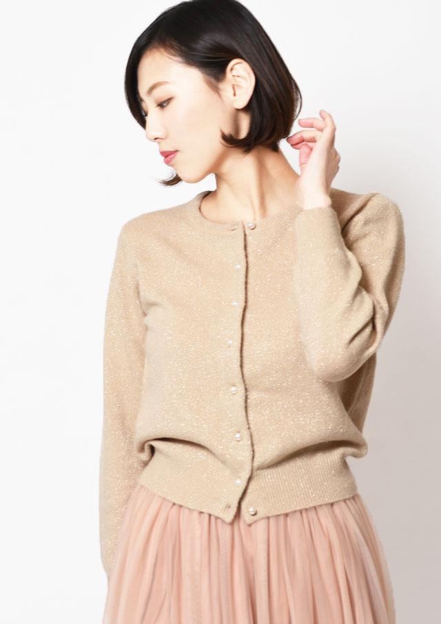 SALE!!【2019】天竺ラメ混パールボタンクルーカーディガン【HB069002】【26】