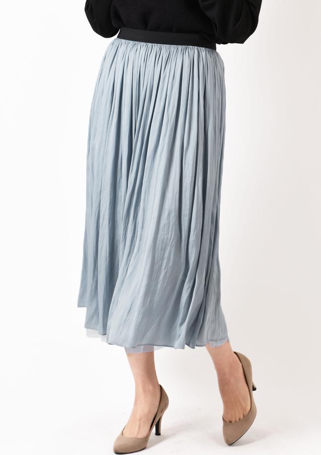 【2020】サテン×チュールリバーシブルギャザースカート【HB080000】【26】