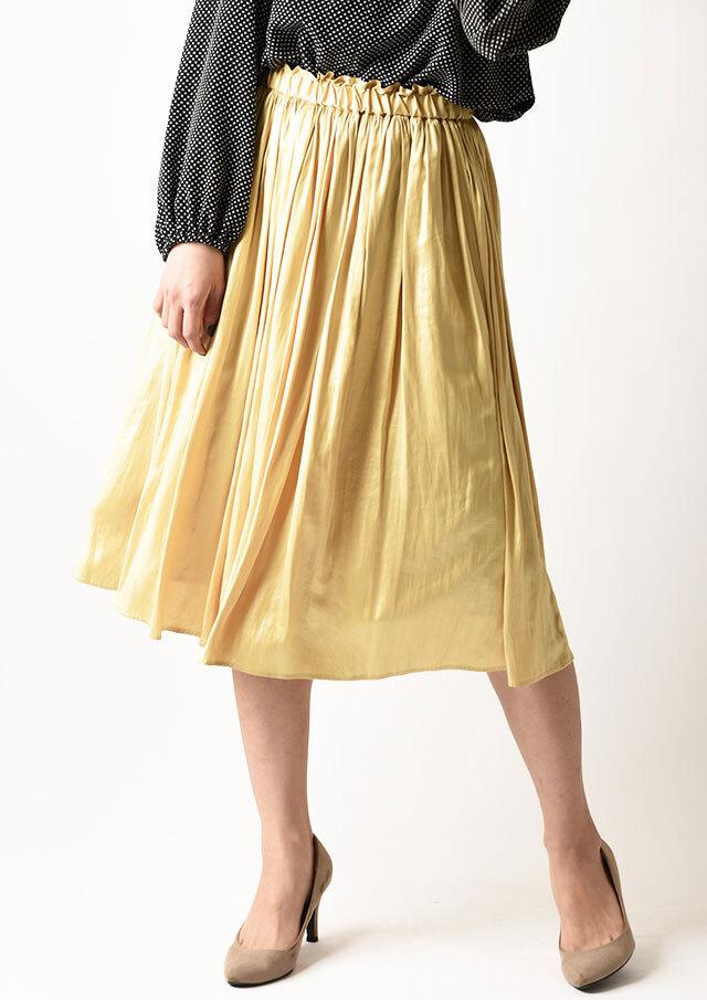 ◆レザーサテンギャザースカート【HB081000】【26】