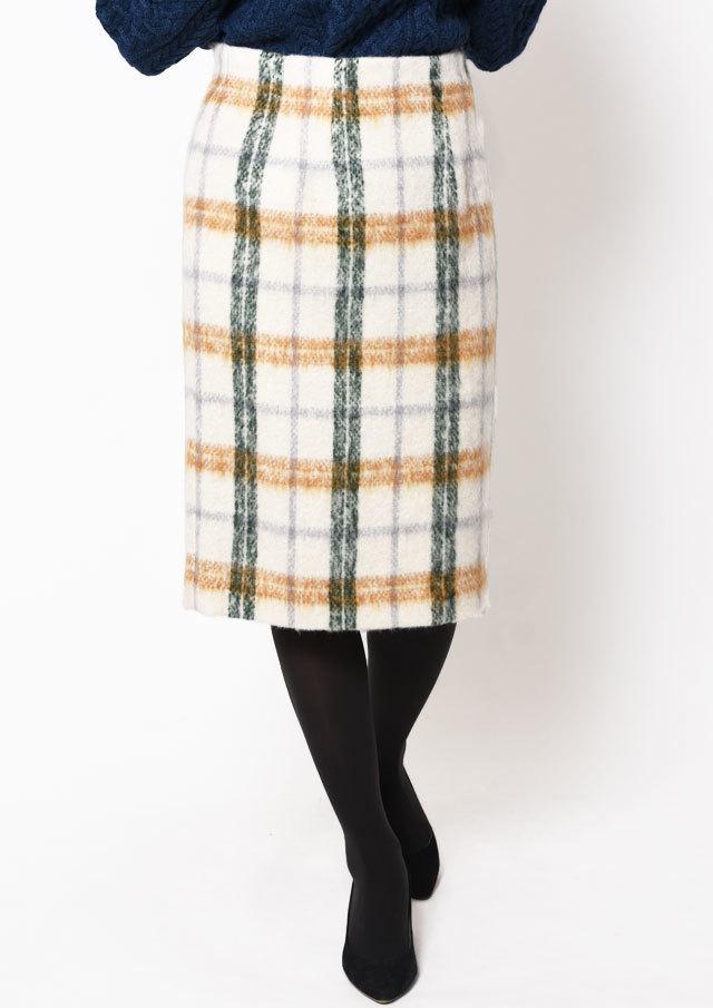 SALE!!【2018】モヘア混シャギーチェックタイトスカート【HB088504】【26】