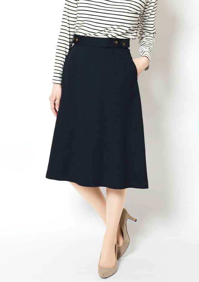 SALE!!【2019】ポンチウエストボタンフレアスカート【HB089001】【26】