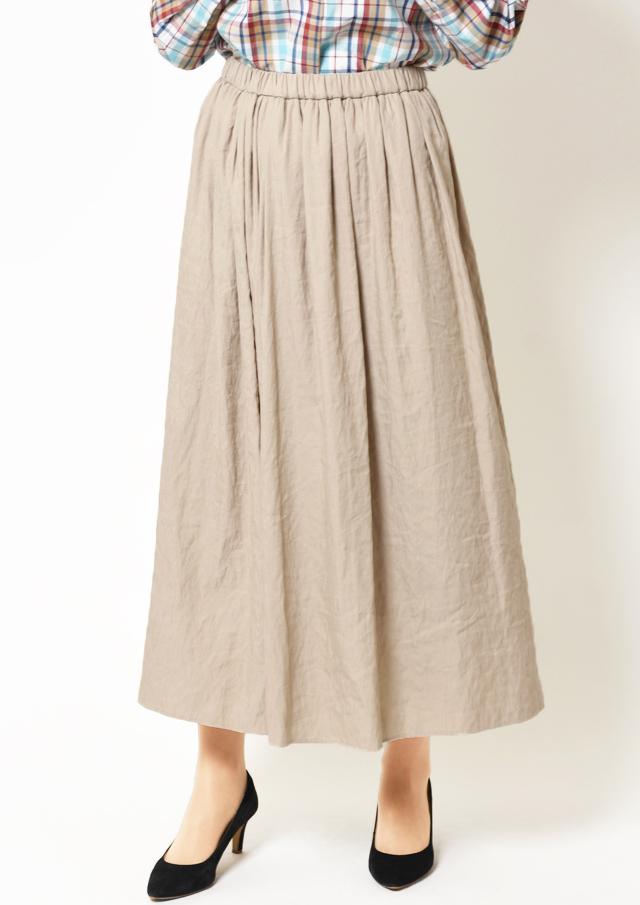 【2019】シャンブレーギャザーマキシスカート【HB089003】【26】