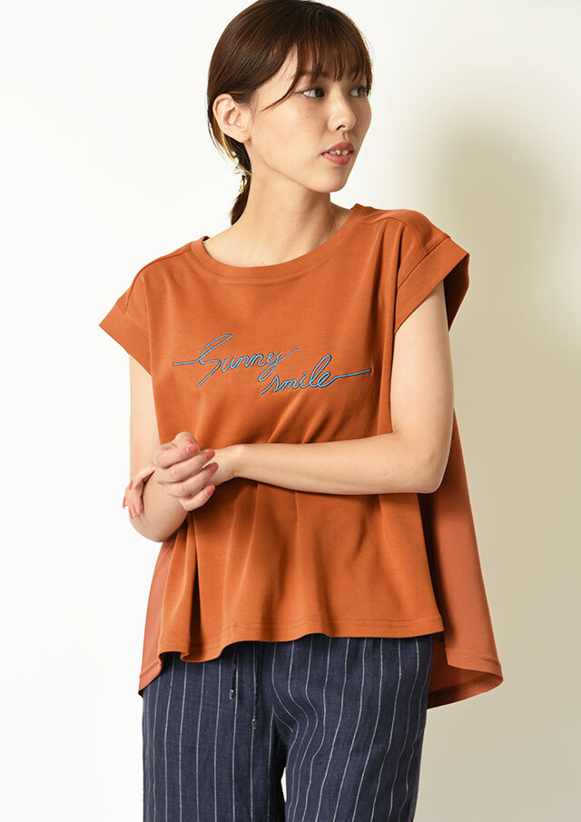 ◇◆コットンライトポンチ異素材使いロゴTシャツ【HC-6717】【61】