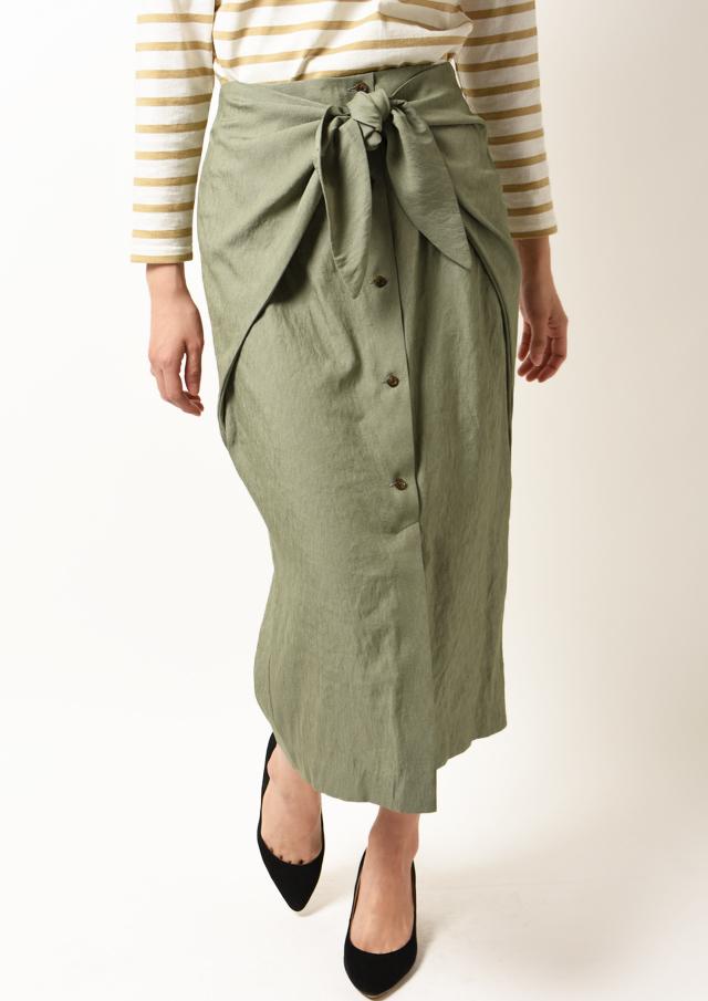 【2020】シャンブレーツイルウエストノットタイトスカート【HF5788】【26】