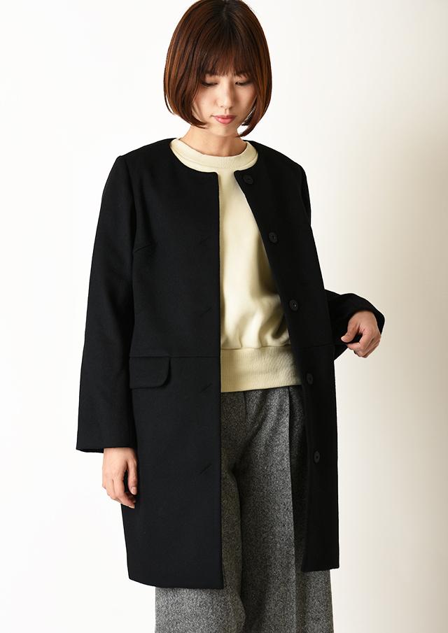 ◆ウールビーバーノーカラーコート【HJ4063】【26】