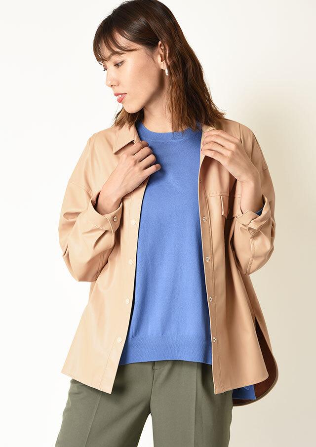 ◆フェイクレザーオーバーシャツジャケット【HJ4143】【26】
