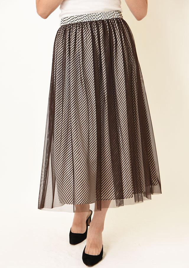 ◇◆ダイアゴナルストライプチュールギャザースカート【HM8480】【26】