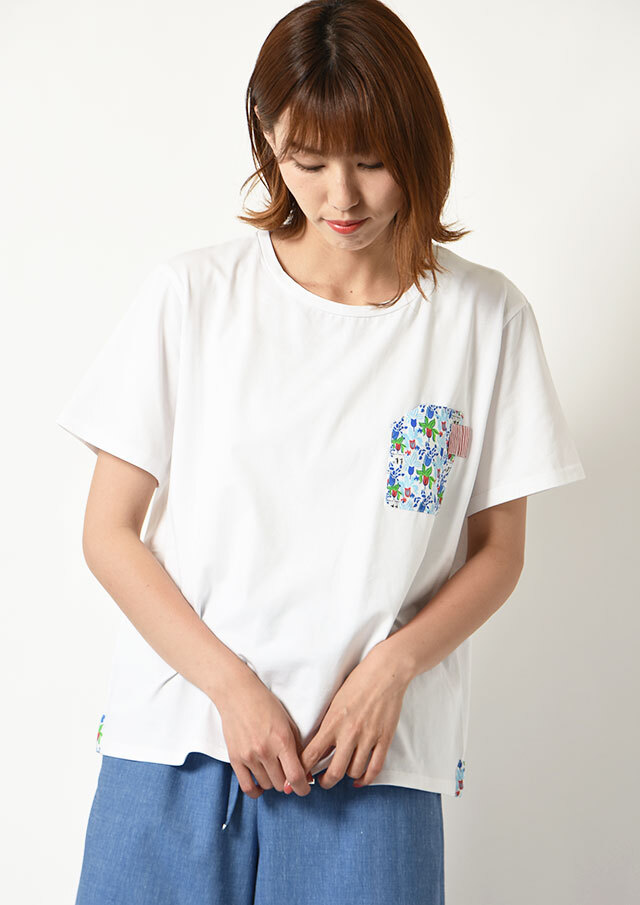 ◆SILVIOS|シルヴィオ|異素材プリントクルーネックTシャツ【HS21901A】【80】