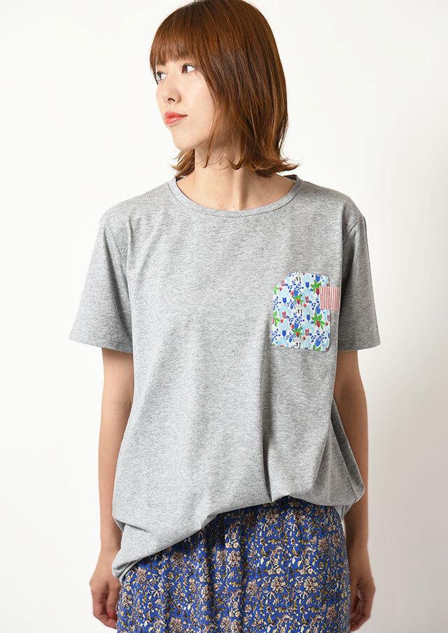 ◆SILVIOS|シルヴィオ|異素材プリントロング丈Tシャツ【HS21901B】【80】