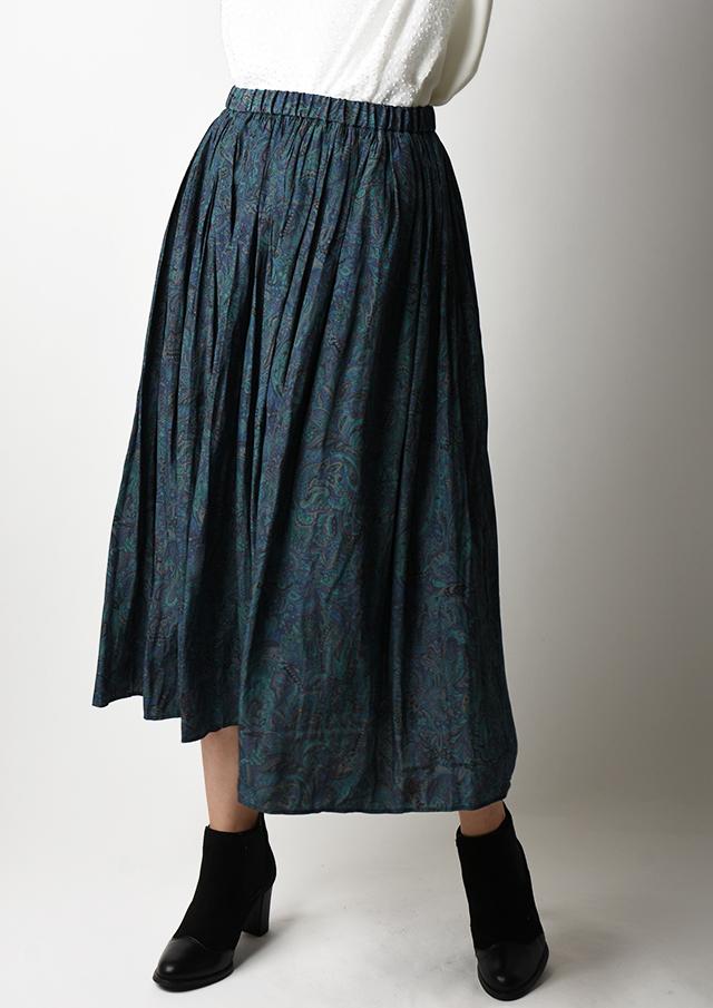 【2020】割繊ペイズリープリントギャザースカート【HU2012】【26】