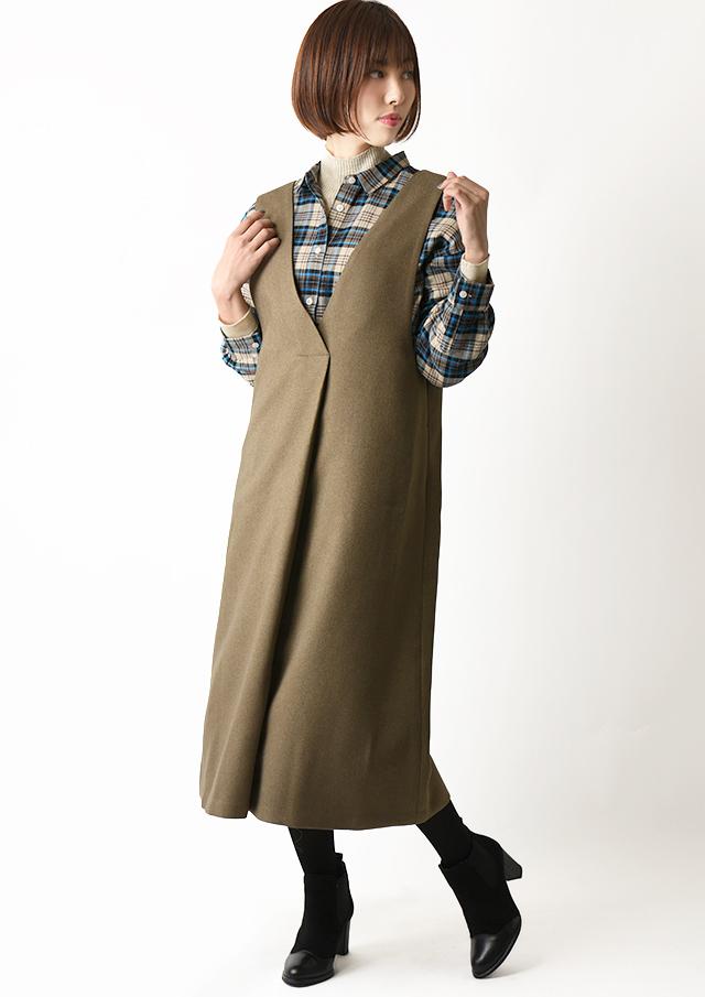 ◆ウール調ヘリンボーンVネックジャンパースカート【HU2075】【26】