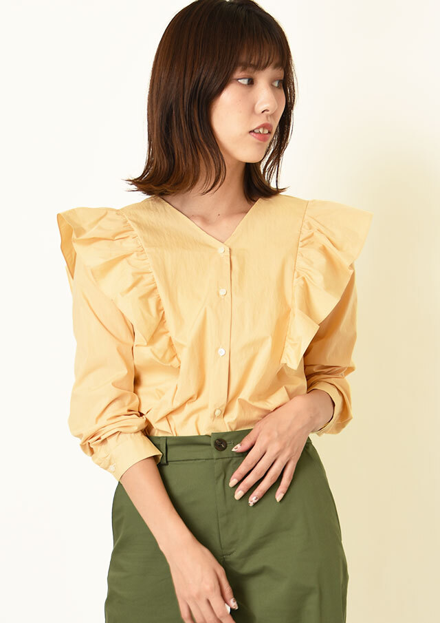 ◇◆コットンナイロンショルダーフリルVネックシャツ【HU2224】【26】