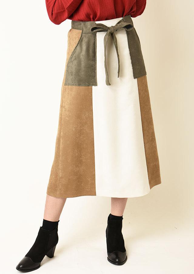 ◆フェイクスエード配色スカート【HU2278】【26】