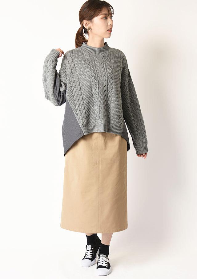 ◆コットンストレッチトラペーズスカート【HU2305】【26】