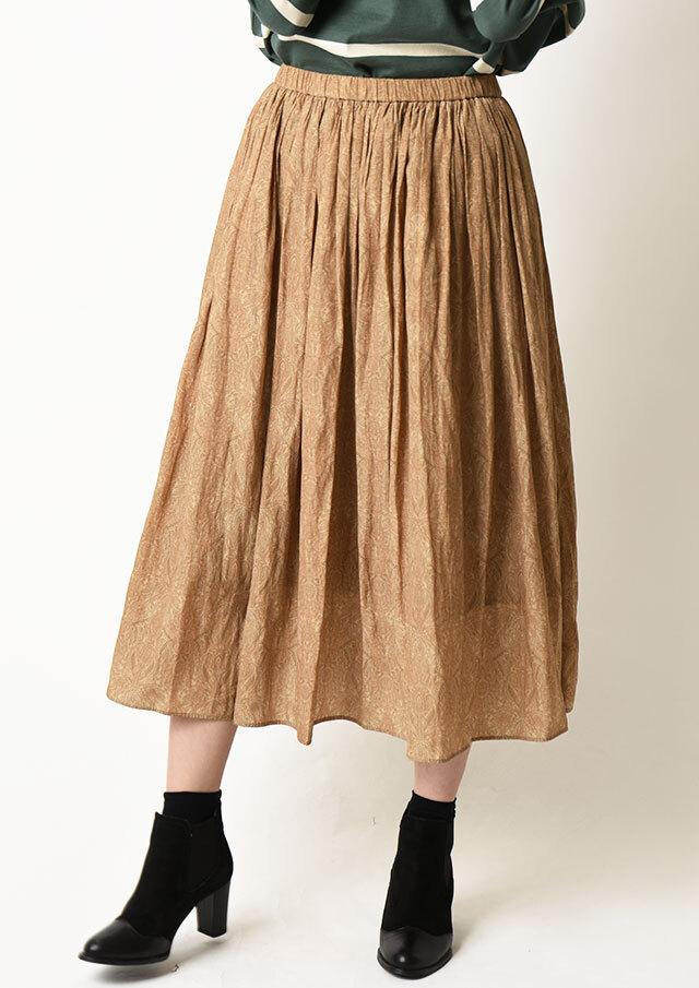 ◆割繊デシンプリントギャザースカート【HU2317】【26】
