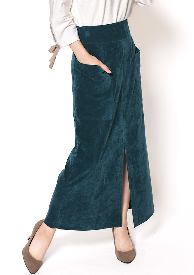 【2018】ベッチンパッチポケットロングスカート【HU2446】