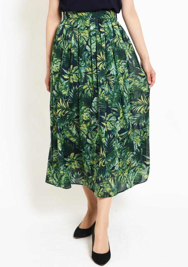 【2019】ボイルリーフプリントギャザーロングスカート【HU2584】【26】