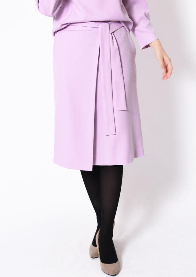 SALE!!【2019】ウール調合繊ラップ風ベルト付きセミタイトスカート【HU2596】【26】
