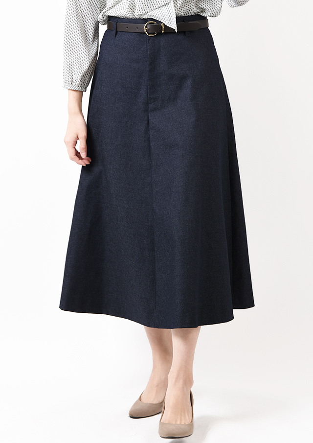 SALE!!【2020】デニムフレアベルト付きロングスカート【HU2845】【26】