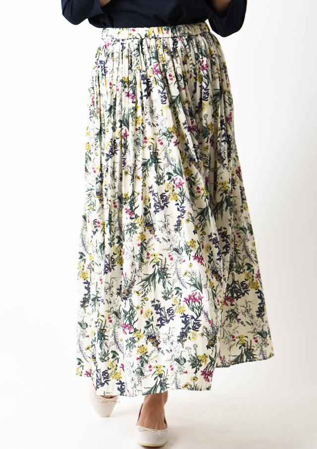 【2020】割繊ボタニカルプリントロングギャザースカート【HU2917】【26】
