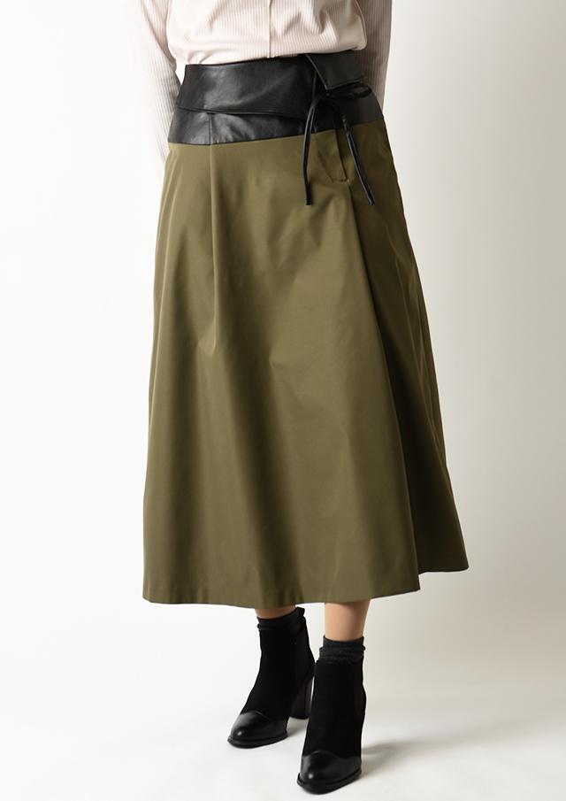 ◇◆ウエストフェイクレザータックロングスカート【HU2975】【26】