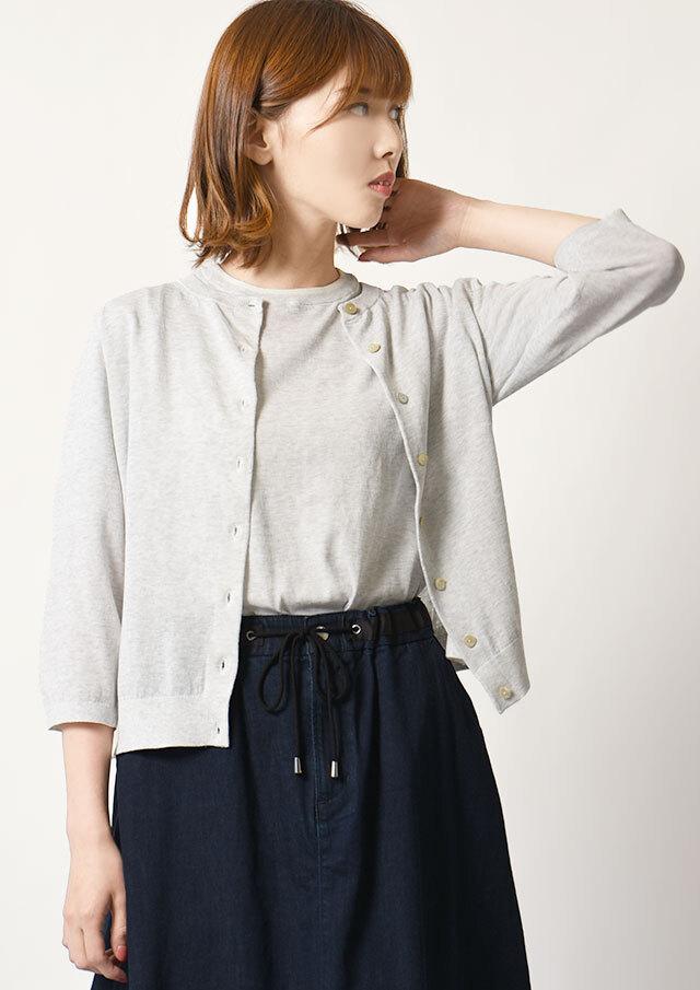 ◆イタリー糸配色クルーネックカーディガン【HW-061001】【61】