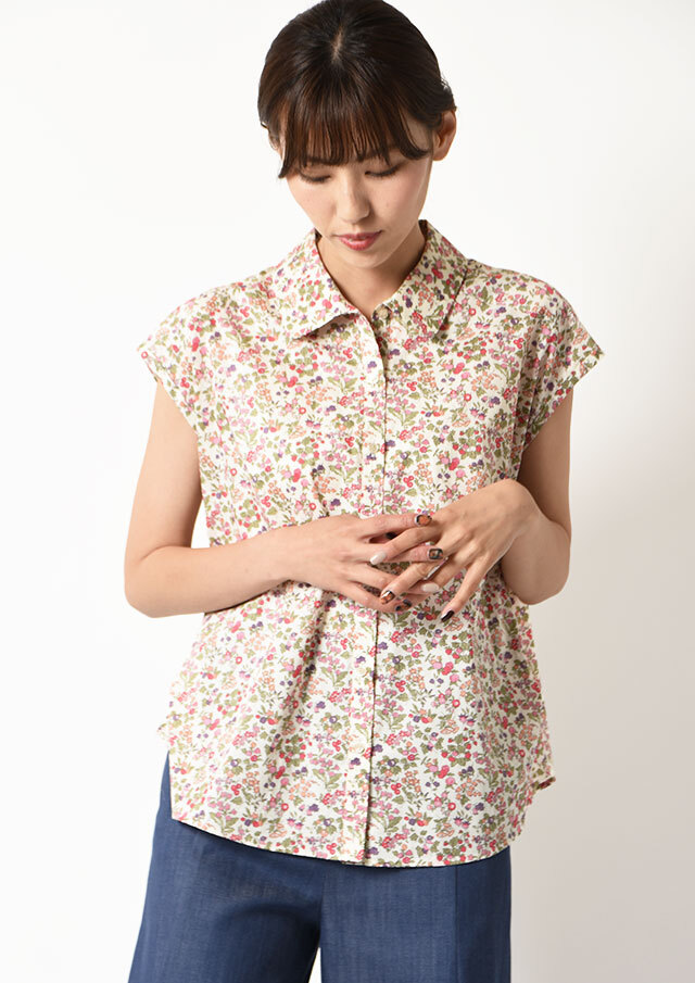 ◆リバティフロントサイドタックフレンチスリーブ裾ボタンシャツ【HW051002】【61】