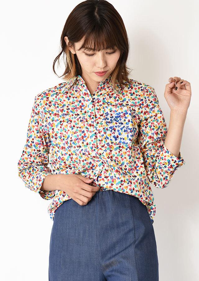◇◆リバティ配色使いレギュラーシャツ【HW051003】【61】